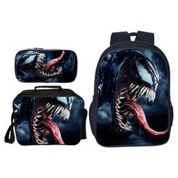 hero suits 2019 - 2019 New Hot 3pcs set Printing Hero Venom Kids Baby School Bags Suit Bag Cartoon Children Backpacks for Boys Schoolbag c