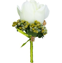 flower corsage brooch UK - 2019 Ivory Man Corsage for Groom Groomsman Silk Rose Flower Wedding Boutonnieres Accessories Pin Brooch Decoration