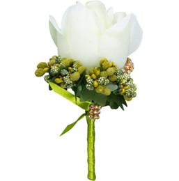 Опт 2019 Слоновой Кости человек корсаж для жениха жениха Шафер шелковые розы свадебные бутоньерки аксессуары Pin брошь украшения