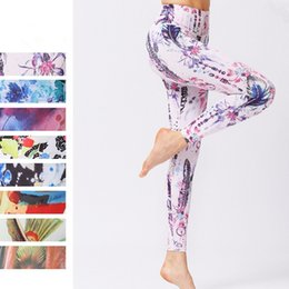 Tight Plus Sized Leggings Australia - plus size flowers painting Yoga Pants ankle-length 8styles compression Printed Fitness leggings Tights femme running Trousers #147325