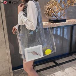 Clear totes wholesale online shopping - Women Fashion Shoulder Bag PVC Transparent Totes Handbags Clear Shoulder Shopping Beach Bags Large Capacity Women Crossbody