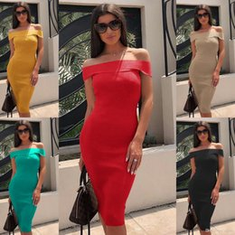 Off shOulder neckline yellOw dress online shopping - 2019 Hot Sale solid Color Close Fitting Summer New Dress Women s One Line Neckline Off The Shoulder Dress Sexy Style
