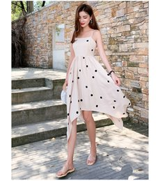 $enCountryForm.capitalKeyWord NZ - Sleeveless Dot Printed Irregular Dress for Women Hot Sale Summer Girl Dress Fashion Sexy Casual Sling Dress Holiday Dresses
