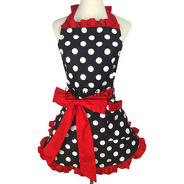 polka dots apron UK - 50pcs Lovely Sweetheart Red Bib Cotton Apron Dress Christmas Fashion Flirty Retro Kitchen Women Polka Dot Apron Gift