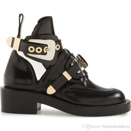 Favorite Boots Australia - Blogger Favorite Black Cut Out Woman Motorcycle Boots Riding Shoes Low Heel Leather Military Style Buckle Strap Ankle Motorcycle Boots Shoes