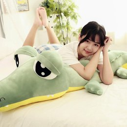Crocodiles Alligator Toys Australia - Kawaii Soft Cartoon Crocodile Plush Toy Giant Green Alligator Big Eyes Toys for Children Gift 190cm 75inch