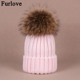 2e50c43609b Furlove Real Raccoon Fur Women s winter Hat Genuine Fur Pompom Women Knitted  Bobble Ski Hat Cap Winter Hats for women skullies