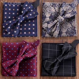 818e24381b64 Check Polka Dot Silk Jacquard Woven Men Butterfly Self Bow Tie BowTie  Pocket Square Handkerchief Hanky Suit Set