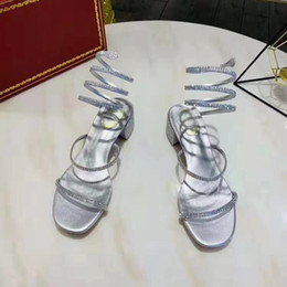 Lace up styLe sandaLs online shopping - Chunky Heel Sandals Women Party Wedding Sandals Luxury Summer Crystals Shoes Women Strappy Open Toe Sandal Snake Wrap Style