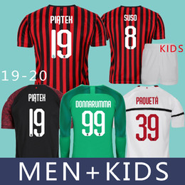 9d745ff19 MEN+Kids 19 20 AC Milan Piatek Soccer Jerseys Paqueta KESSIE Donnarumma  Goalkeeper Long Sleeve 2019 Romagnoli Suso Castillejo Football Shirt