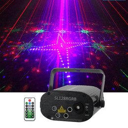 Wholesale Sharelife 4 Lens Mini 128 RGRB Pattern Laser Light Music Remote Control Motor Speed DJ Gig Party Home Show Stage lighting 128RGB
