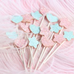 little stars baby wholesale Australia - 24 Pieces Little Star Shaped Topper Food Baby Shower Decor Shining Heart Cupcake Party Picks CP03