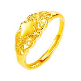 jewelry outlets Australia - Jewelry Wholesale Imitation Gold Color Creative Models Clover Retro Ring Hollow Ring Wholesale Factory Outlets