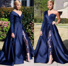 Sexy red Short pantS jumpSuit online shopping - Elegant One Shoulder Long Sleeve Evening Dresses Pant Suits A Line Dark Navy Split Prom Party Gowns Jumpsuit Celebrity Dresses BC0282