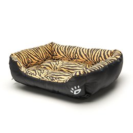 tiger beds Australia - Square Pet Bed Tiger Leopard Print 3 Size Soft Dog Bed Warming Puppy Bed House Soft Material Nest Dog Baskets Winter Warm Kennel