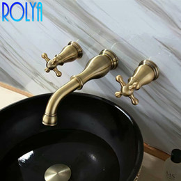 Vintage brass handles online shopping - Rolya Bronze Bathroom Sink Faucet Dual Cross Handles Vintage Wall Mounting Solid Copper Basin Mixer Tap Set