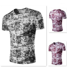 digital printing tshirt NZ - Slim 3D Digital Printed Tops Teenager Fashion Short Sleeve Tees Male Clothing Mens Designer Tshirt Summer