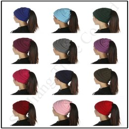 OutdOOr cOstumes online shopping - Women C C Ponytail Hat Female Knitted Crochet Wool Hats Outdoor Ski Elastic Back Hole Beanie Hat Messy Bun Holder Warm Skull Caps C91806