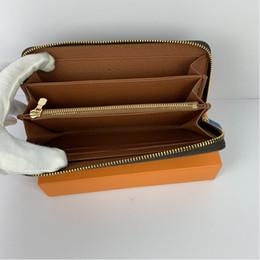Mode kvinnor koppling plånbok PU läder plånbok singel dragkedja plånböcker dam damer lång klassisk handväska med orange låda kort 60017