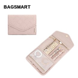 Plain earrings online shopping - BAGSMART Women Travel Jewelry Organizers Foldable Jewelry Rolls for Necklace Bracelet Earring Ring Travel Accessories Pouch