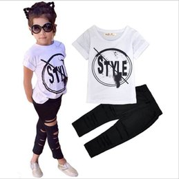 Tops Girl Shirt Design Australia - New design 2Pcs girl printed T-shirt top+Legging pants For Girls summer girl letter Short sleeve Clothing