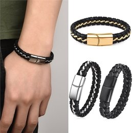 Wholesale Men Braided Leather Bracelet with Titanium Steel Stainless Steel Magnetic Clasp Weave Bracelets for Men Jewelry Gift