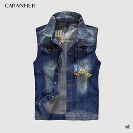 $enCountryForm.capitalKeyWord NZ - Denim Vest Men's Punk Rock Style Rivet Cowboy Black Jeans Waistcoat Male Motorcycle Jacket Vest Sleeveless Splice Coat