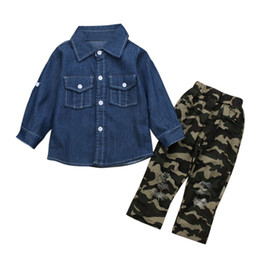BaBy pants holes online shopping - kids designer clothes girls outfits children Denim shirt Camouflage hole pants set Spring Autumn baby Clothing Sets C6877