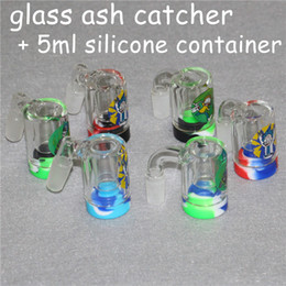 $enCountryForm.capitalKeyWord Australia - New 14mm Male Glass Ash Catcher with 5ml silicone containers straight silicone bong water bong glass bong oil rig for smoking pipes