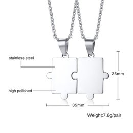 b5ba06199d EngravEd couplEs nEcklacEs online shopping - ashion Jewelry Meaeguet Free  Engraving Puzzle Necklace Set For Best