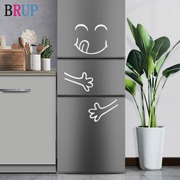 smiling faces decorations UK - White and Black Smile Face Wall Sticker Happy Delicious Face Fridge Stickers Yummy for Furniture Decoration Art Poster DIY Vinyl