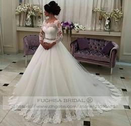 Plus Size Corset Shirts Australia - 3 4 Sheer Lace Sleeves Princess Wedding Dress with Removable Sash Corset Back Bridal Gown Plus Size Lace Trim
