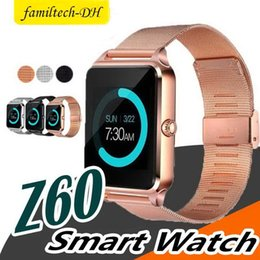 fitness bluetooth Australia - 1 PCS Bluetooth Smart Watch Phone Z60 Stainless Steel Support SIM TF Card Camera Fitness Tracker GT08 GT09 Smartwatch for IOS Android