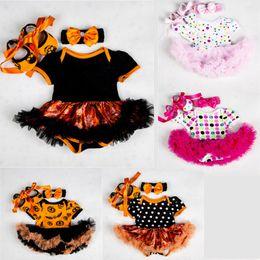 $enCountryForm.capitalKeyWord Australia - Newborn Baby Romper Suit Infant Baby Girls Halloween Pumpkin Theme Clothing Girls Bow-Tie Dot Mesh TUTU Dress Headband Shoes Set 06