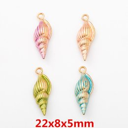 $enCountryForm.capitalKeyWord Australia - 100pcs DIY Alloy metal enamel conch charms Painting Paint color pendants Jewelry Parts Multicolor fashion Handmade Accessories Material