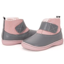 Discount leather shoes flats - Children Winter Boots Toddler Girls Boys Snow Boots with Plush Big Size Barefoot Shoes for Kids