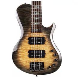 Satin Strings Australia - Free shipping Satin Trans Amber 24 F 5 strings Electric bass Mahogany body Maple neck  Customizable logo custom color