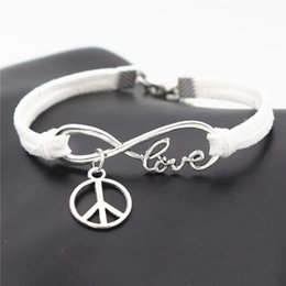 Love Peace Charms Australia - Antique Silver White Leather Suede Infinity Love Round Peace Symbols Cuff Charm Bracelets & Bangles Unique European Style Women Men Jewelry