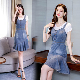 $enCountryForm.capitalKeyWord Australia - New korean Strap bodycon women blue denim dress Elegant ruffle mermaid summer dresses 2019 Buttons jeans dresses ladies vestidos