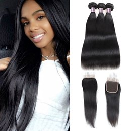 16 18 length weave 2019 - Brazilian Straight Human Hair Bundles With Closure Body Wave Indian Virgin Hair Extensions 3 4Bundles With 4x4 Lace Clos