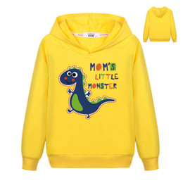 Discount little boy blue clothing - Children Clothing Boys Girls Dinosaur Pattern Sweatshirt Kids 3D Mom's Little Monster Letter Printed Hoodies Cotton