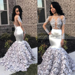 $enCountryForm.capitalKeyWord Australia - 2019 Design Luxury Evening Gowns Long Sleeves Sexy Sheer Beaded Appliqued Bodice 3D Rose Flowers Silver Satin Prom Dresses robes de soirée
