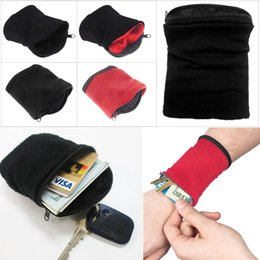 Wrist Band Cycling Australia - Wrist Wallet Pouch Fitness Band Wristbands Travel Cycling Sport Wallet Hiking Accessiories 2 Color