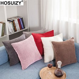corduroy pillow covers Australia - Solid Color Corduroy Decorative Cushion Covers 45x45cm Nordic Home Winter Decoration Modern Sofa Bed Chair Throw Pillow Cover