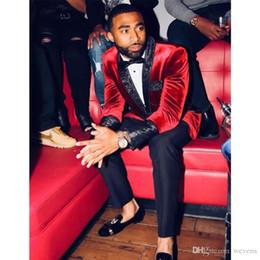$enCountryForm.capitalKeyWord Australia - Popular Red One Button Velvet Men Suits Prom Blazer Shawl Lapel Trim Fit Wedding Groom Tuxedos Best Man Winter Suit Separates