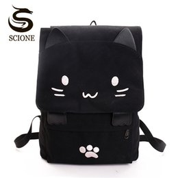 large canvas prints black white UK - Women Cute Cat Backpack Canvas Kawaii Backpacks School Bag For Student Teenagers Lovely Rucksack Cartoon Bookbags Mochilas Y19061204