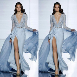 $enCountryForm.capitalKeyWord Australia - 2019 New Sexy Zuhair Murad Evening Dresses With Long Sleeves Formal Mermaid Prom Dress Crystals Blue High Split Celebrity Gowns