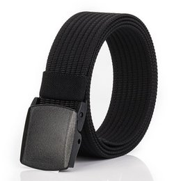 men plastic belts NZ - New Casual Tactical Men Belt High Quality Nylon Sport Unisex Plastic stee Buckle Waistband outdoor Female Belt for Men Fabric For Jeans