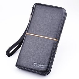 block brown UK - New Design Long Wallets For Men Leather RFID Blocking Bifold Men Wallet with Zipper Drop Shiping