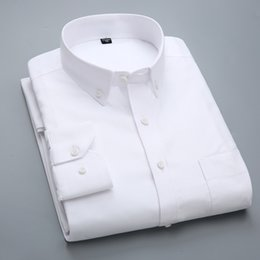 long white fit flare dress NZ - High Quality New Shirt Men Long Sleeve Cotton Casual White Blue Slim Fit Camisa Business Classic Mens Dress Shirts Mens